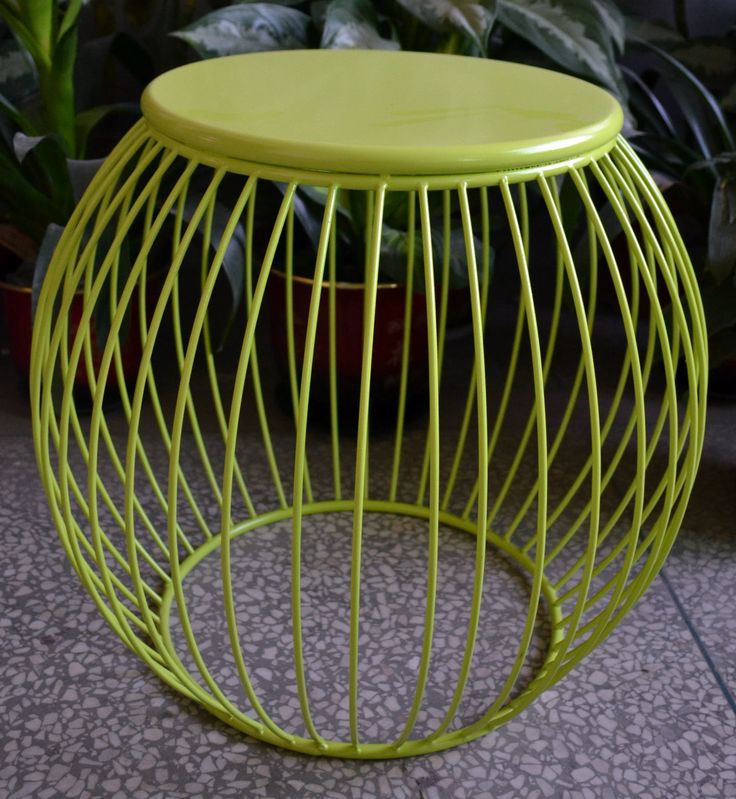 Jungle Green Globe Side Table - These beautiful lime green iron side tables are both functional and beautiful. Gravity defining oval base is sturdy enough for this to be used as a stool or a table. | #greentable | #greensidetable | #junglegreen | #green | #sidetable | #table | #philbee