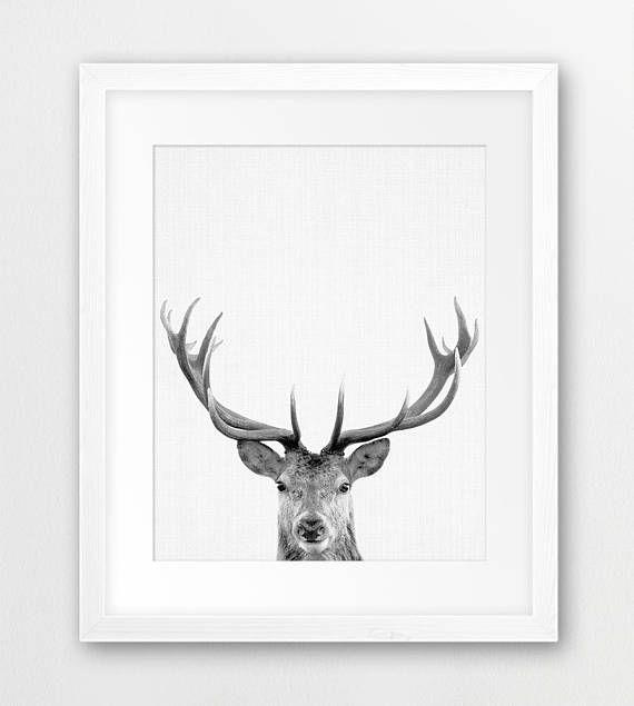 woodland print animal prints room decor antler digital print gift Deer wall decor nursery decor art print printable wall art
