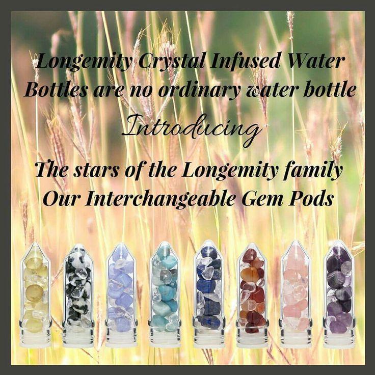 Crystal gem water gem pods interchangeable with a Longemity Water Bottle. www.longemity.com.au