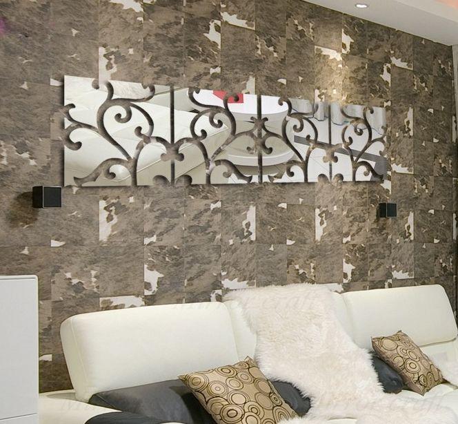 Barato parede diy espelho acr lico espelhado decorativos - Papel de pared barato ...