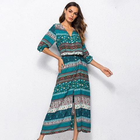 6716b4627f96b 2018 new Bohemian printing long dress women maxi long dress floral ...