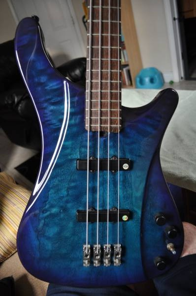 Beautiful Brubaker L-4 Lexa bass made in 1999. One of the rare ones that has both the Lane Poor pickups AND a 2 Tek bridge.