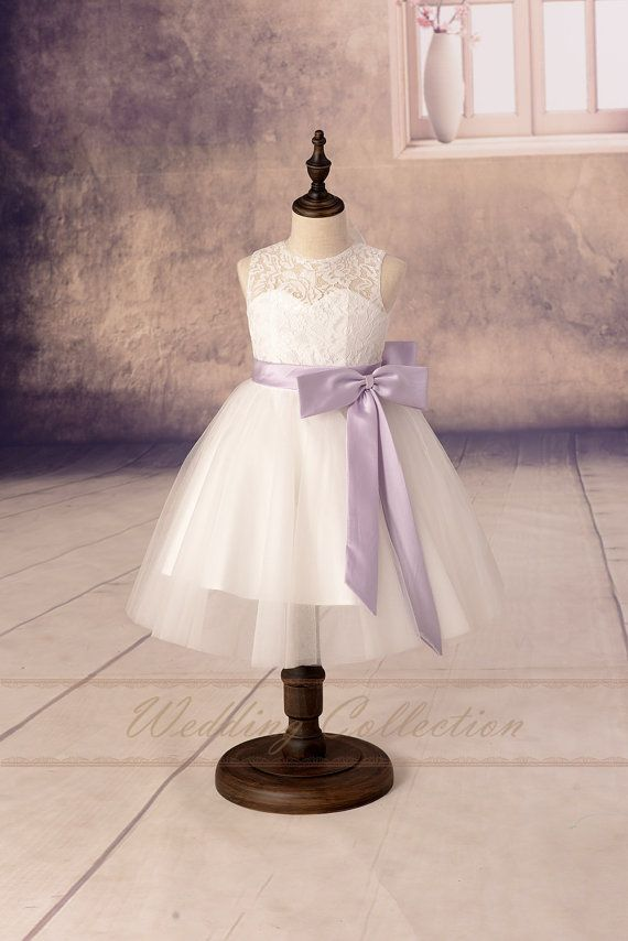 Lace Flower Girl Dresses, Tulle Flower Girls Dress With Lilac Sash and Bow