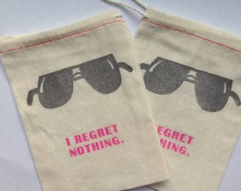 "Bachelorette Hangover Kit Bags (Set of 10)- ""I Regret Nothing"""