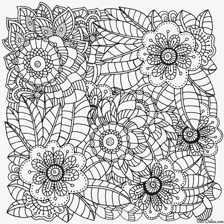 Раскраска Антистресс Ретро цветы распечатать или скачать ...