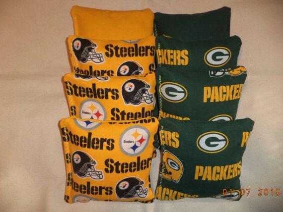 Cornhole bags Green Bay Packers corn hole bean bags Steelers