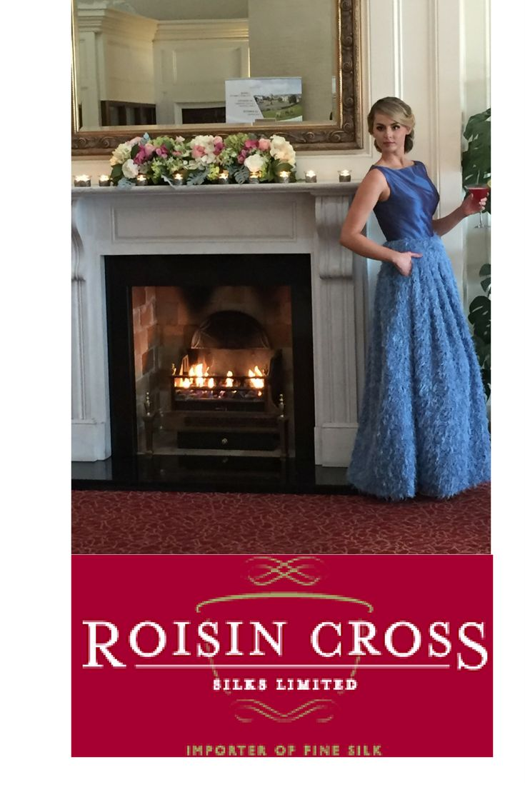 Regal Blue Silk Dupion with Pleated A-Lined Beaded Skirt
