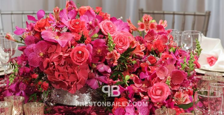 red pink low centerpiece - centerpiece, entertaining, flowers, orchid, roses, table setting, wedding, color|pink, color|red