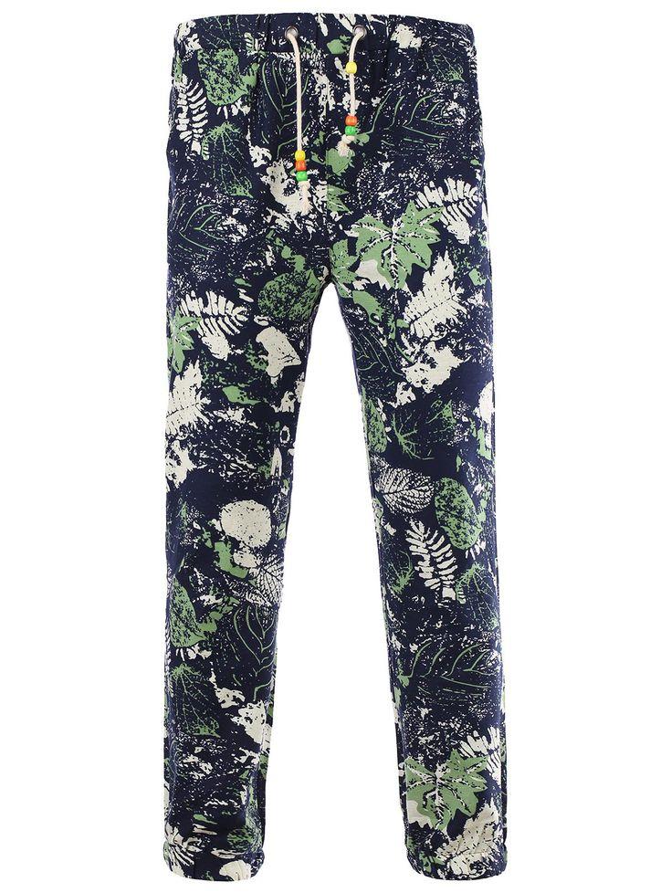 Lace-Up Leaves Print Beam Feet Cotton+Linen Pants For Men #men, #hats, #watches, #belts, #fashion