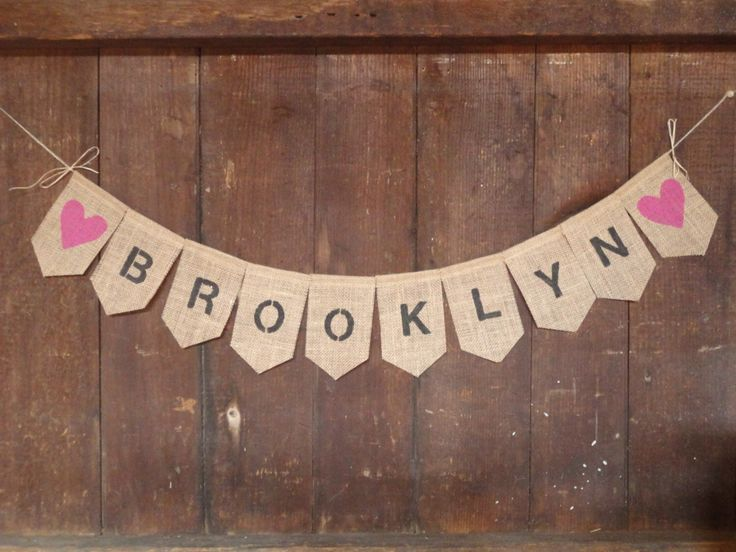 Custom Baby Name Banner, Personalized Baby Name Bunting, Baby Shower Decor, Burlap Bunting, Baby Girl Boy Banner, Rustic Baby Decor by IchabodsImagination on Etsy https://www.etsy.com/listing/169650879/custom-baby-name-banner-personalized