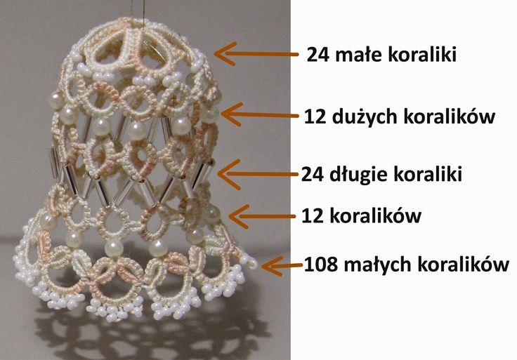 Rękodzieło: Tatting - campana para el árbol de Navidad