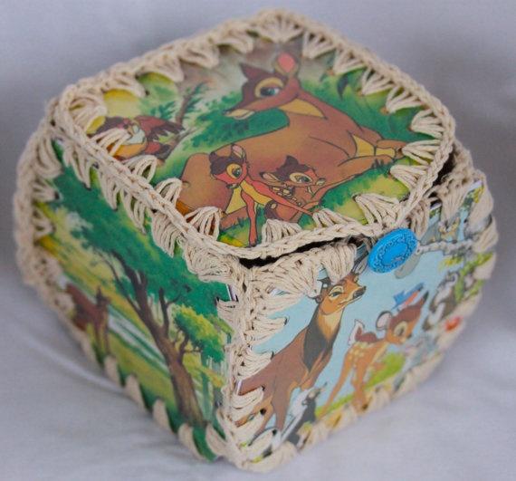 Vintage Golden book Bambi crochet hankie box by FudgieBudgie, $25.00