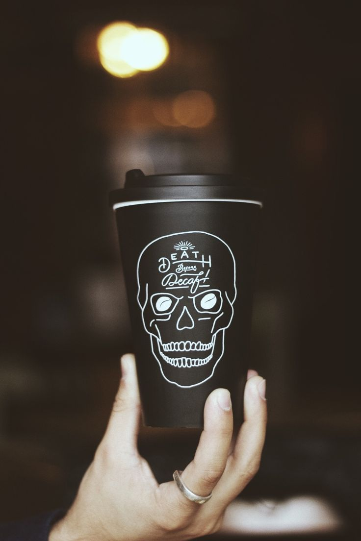 My kind of coffee cup. 'Death Before Decaf' www.pand.co : ) PD