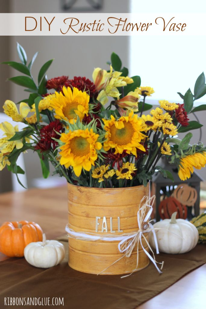 Diy Rustic Flower Vase Fall Flowers Colors And Beautiful
