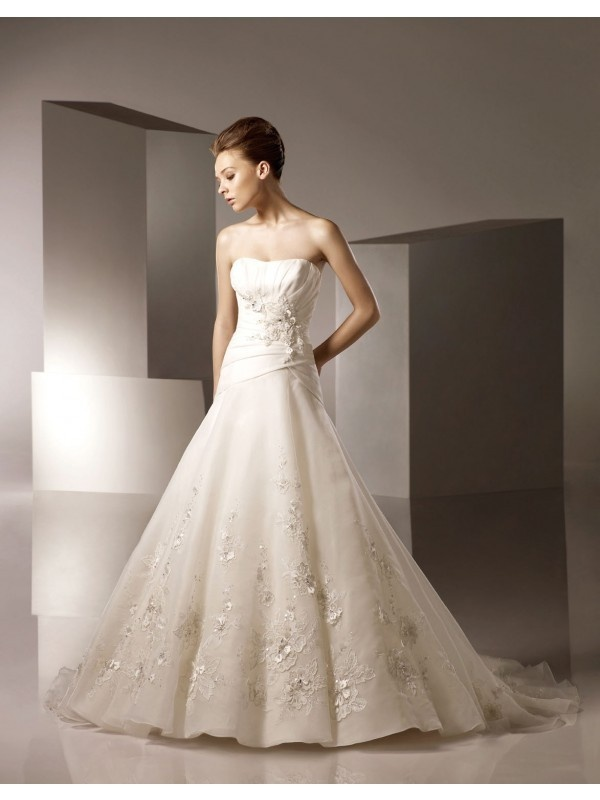 Strapless Applique Wedding Dress Strapless Embroidered And Beaded