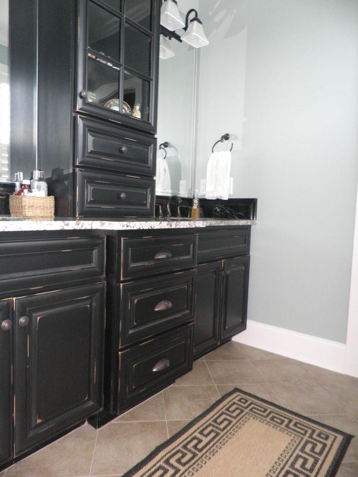 Vintage Onyx Distressed Finish Kitchen Cabinets Milk Paint ...