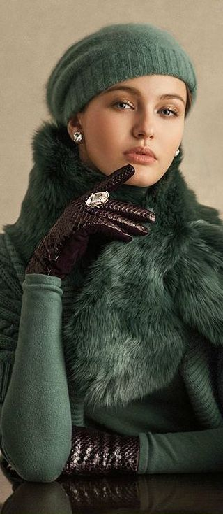 RALPH LAUREN Gorg Green - using shearling not fur (Shearling is a sheepskin that has gone through a limited shearing process to obtain a uniform depth of the wool fibers for a uniform look and feel)