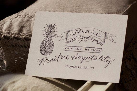 Hand-Lettered Scripture Print  Romans 12:13  Bella by Paperglaze
