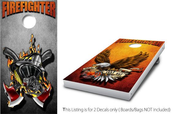Firefighter 2 Cornhole Wrap set 2 decals 24 x by StickitGraphixllc