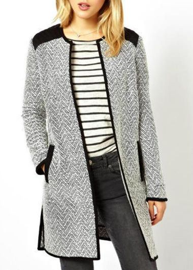 Long Sleeve Cotton Blend Coat
