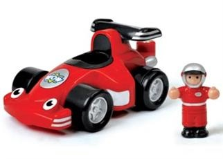 WOW Toys - Robbie Racer (Age 1+ Year): Friction-powered special edition Robbie Racer. Race to the finish line with Robbie Racer and his race car driver, Jensen.Use the friction-powered race car to make sure Robbie and Jensen come in first place and listen to the realistic engine sounds as they zoom over the finish line.