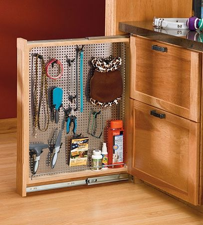 A Pegboard Insert Makes This Vertical Kitchen Storage Cabinet Perfect For  Pet Gear.