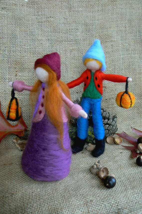 SALE- Lantern Walk- Girl Doll- Martinmas- Waldorf- Needle Felted- Felt Doll- St Martins- Lantern- Celebration- Autumn