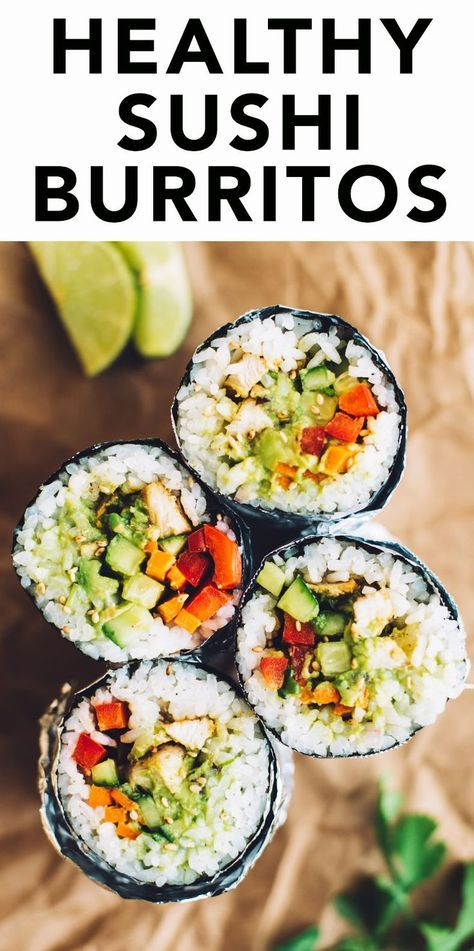 How to Make a Sushi Burrito - a filling meal that's filled with rice, chicken and vegetables!
