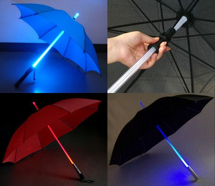 Multi Colour Changing Umbrella with Built in LED Torch- Black Canopy.