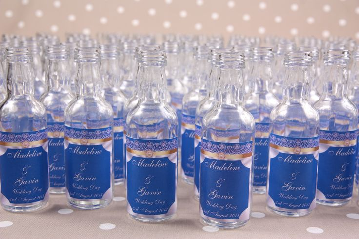 Royal Blue Wedding Favours Empty Miniature Spirit Bottle With Personalised Label Beautiful Design From Our Purlesque Range Of Stationer