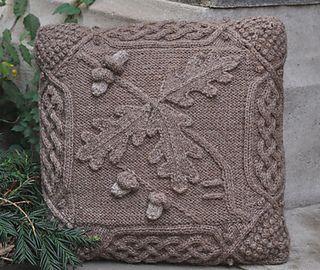 Celtic Oak Pillow | cable knitting pattern by Barbara A Pott