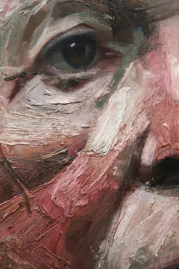 Colin Davidson ,detalle del retrato de Michael Langley. Uso de espátula y pincel con empaste salvo en ojos, tratados de manera individual con respecto al resto de la obra, de forma realista.