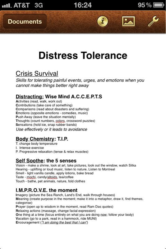 Distress Tolerance Borderline Personality Disorder And