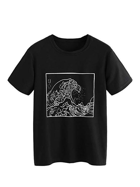 95030cf43 Romwe Women's Short Sleeve Top Casual The Great Wave Off Kanagawa Graphic  Print Tee Shirt