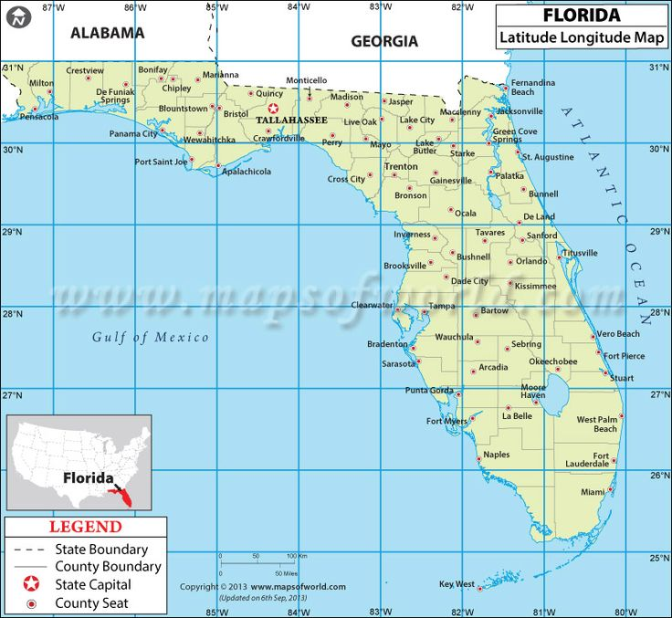 map showing latitude and longitude of florida state of the us