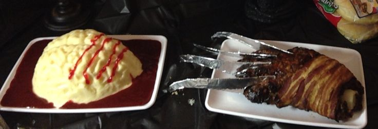 Freddy Krueger's hand and his Victims brain (Meatloaf partially wrapped in bacon with Mashed potatoes and Gravy)
