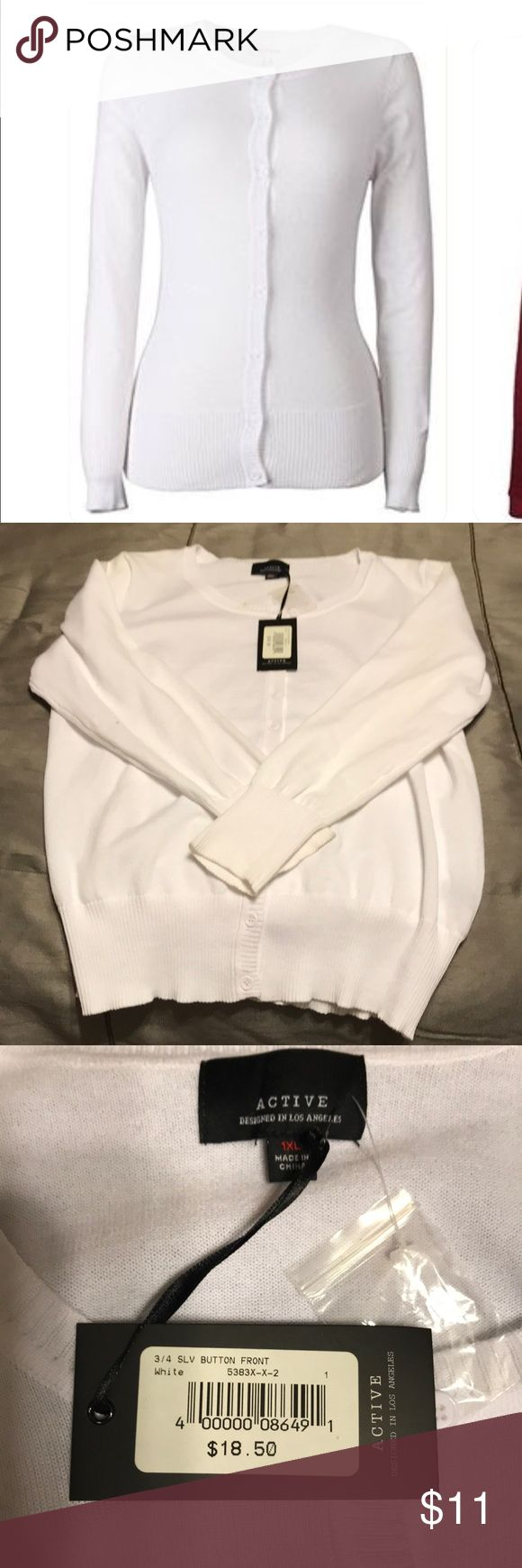 "Women's 3/4 Sleeve Button Front Cardigan/Sweater BNWT Active Designed In Los Angeles Sweater/Cardigan. Size 1X . FOUR Colors available. White, Baby Mint, Coral, and a ""Wheat/Oatmeal"" Color. All BNWT or BNWT. Never worn.60% Cotton, 40% Polyester. **White Sweater has a small spot on it that I just noticed. Could have come from being in my closet too long or I could have unknowingly purchased it like that. Please reference photo* Active Designed in Los Angeles Sweaters Cardigans"