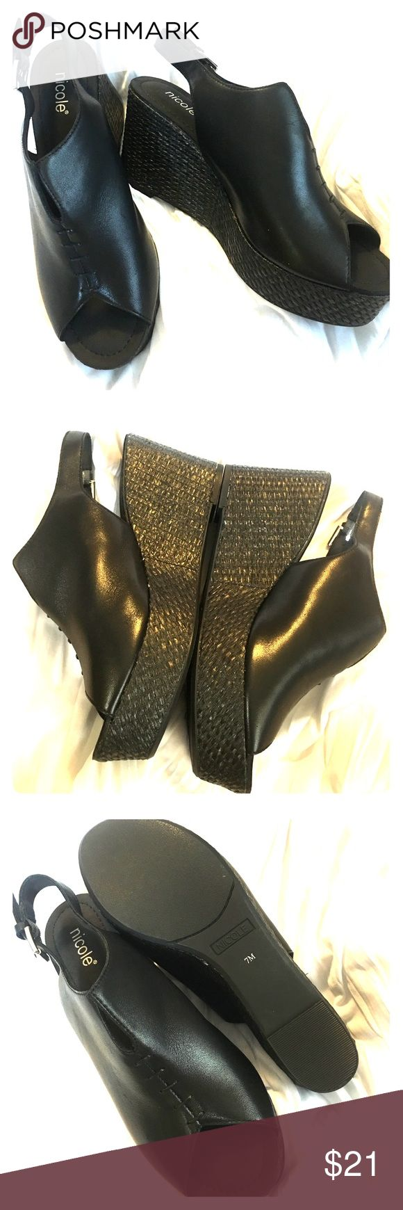Nicole Black Leather Wedges Nicole Black Leather Wedges. New. Size 7. Ultra Chic for all your black accent outfits. Super cool❤️ Nicole by Nicole Miller Shoes