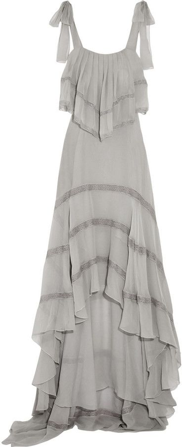 Philosophy di Lorenzo Serafini Ruffled Lace-Paneled Silk-Chiffon Dress
