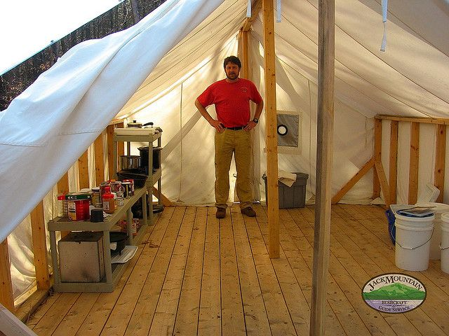 Wall tent living flickr photo sharing cabin ideas for Canvas platform tents