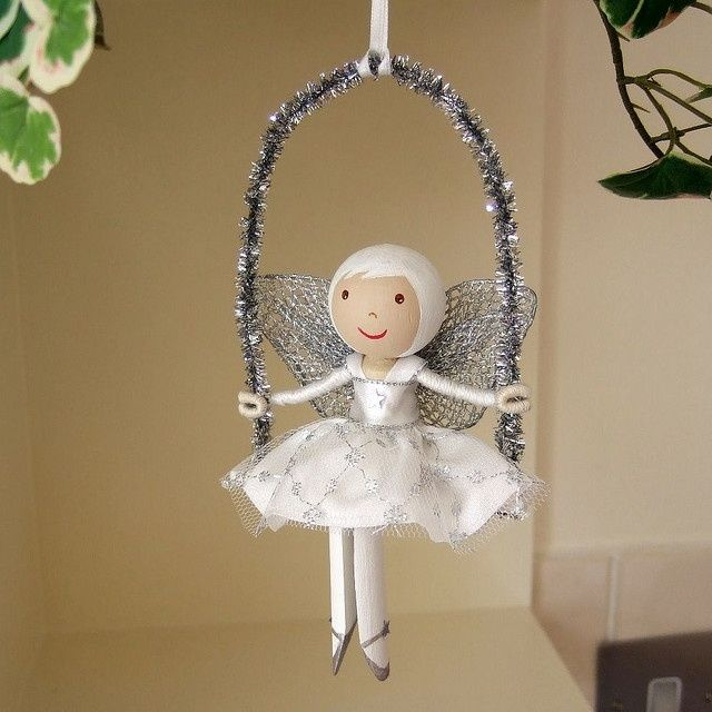 Christmas Ornament Angels From Office Supplies: Clothespins Images On
