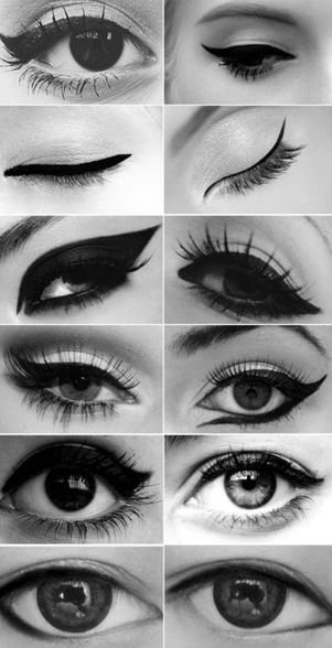 50s Eye-liner - want to do the 3rd on the left, but I'm usually more of a last on the left girl...