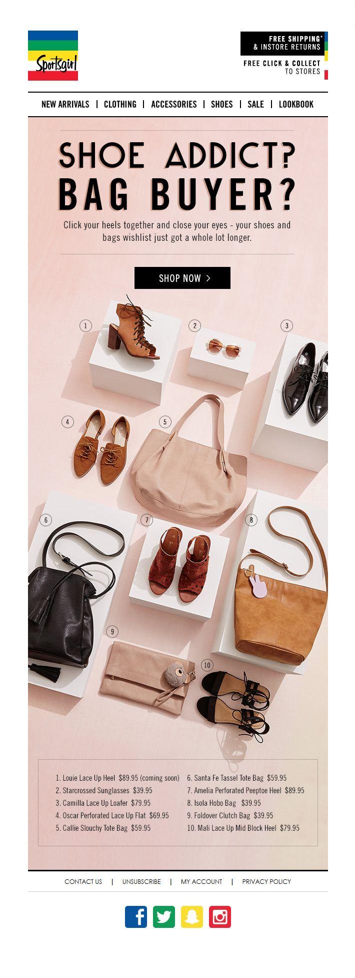 #web #website #weblayout #email #newsletter #shoes #bags #fw16 #brown #black