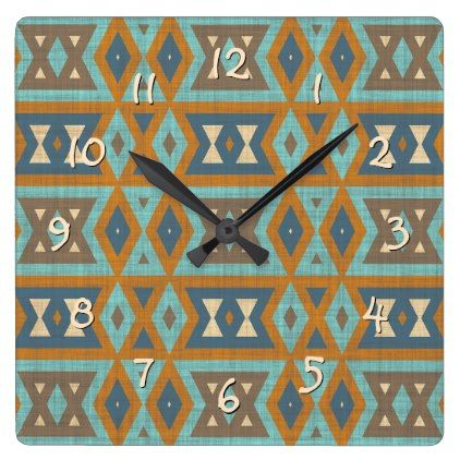 Teal Turquoise Orange Brown Eclectic Ethnic Look Square Wall Clock - pattern sample design template diy cyo customize