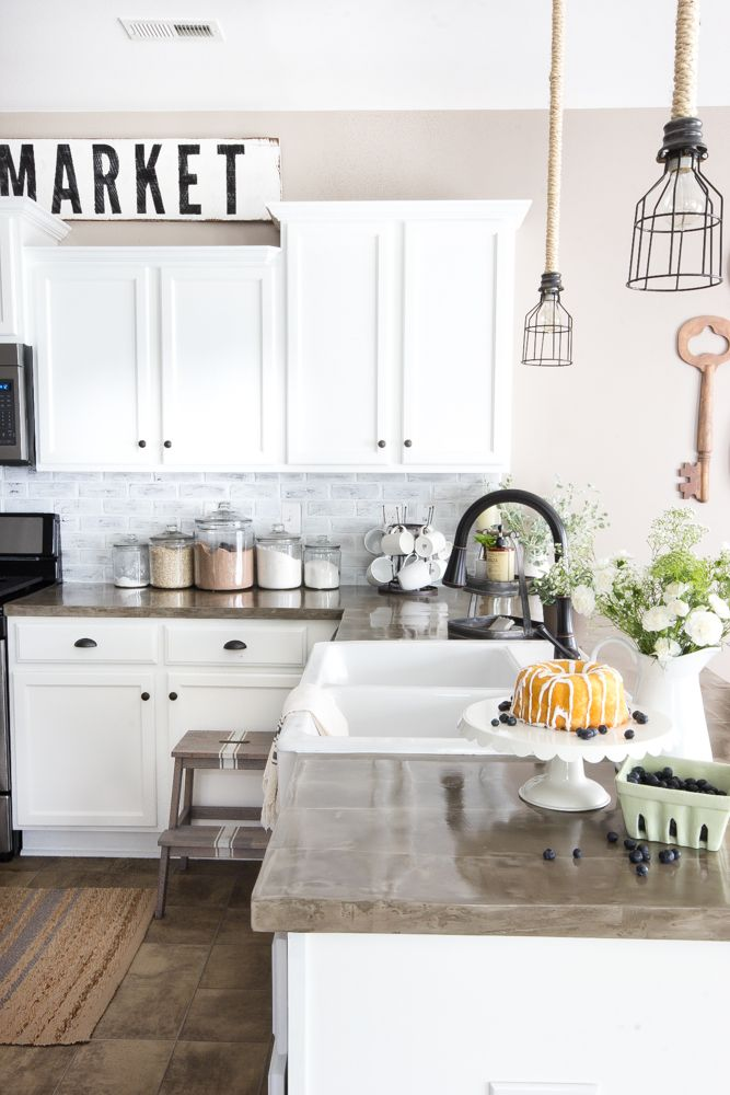 DIY Whitewashed Faux Brick Backsplash   blesserhouse.com - A quick and inexpensive way to spruce up a dated backsplash with a rustic industrial style even over existing tile!