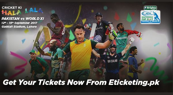 Pakistan vs. World XI T20 2017: Online Tickets and Prices    PCB has started selling tickets for Independence Cup 2017. Tickets are available at three places that are:  Howdys at Packages Mall  Burger King at Emporium Mall  Selected Bank of Punjab Branches  Bank of Punjab Branches  No #  Branch  1  Main Boulevard Gulberg Lahore  2  New Garden Town Lahore  3  Model Town Lahore  4  Saddar Bazar Lahore  5  Z-Block D.H.A Lahore  6  Walton Road Lahore  7  Muslim Town Lahore  8  Karim Block Lahore…