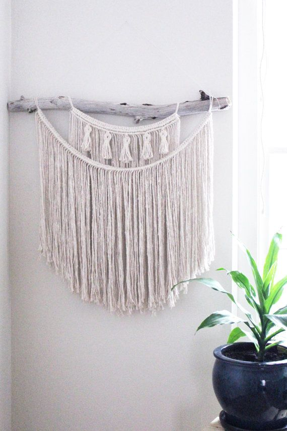 DESCRIPTION - Such a great piece!! Double layered to be thick and luscious, this wall hanging has 5 mini tassels for a unique but simple touch. It is knotted on a beautiful thick piece of drift wood from the Oregon Coast that has a little bend to it. Absolutely great size for above your bed, above your couch, above your table at your wedding or behind you on the alter. ****Since this piece is made to order - the driftwood will differ from the photo! Please ask me to send photos of what…