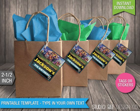 Clash of Clans Favor Tags - INSTANT DOWNLOAD - Printable Supercell Clash of Clans Birthday Favor Bag Tags - DIY Personalize & Print (CCst02)