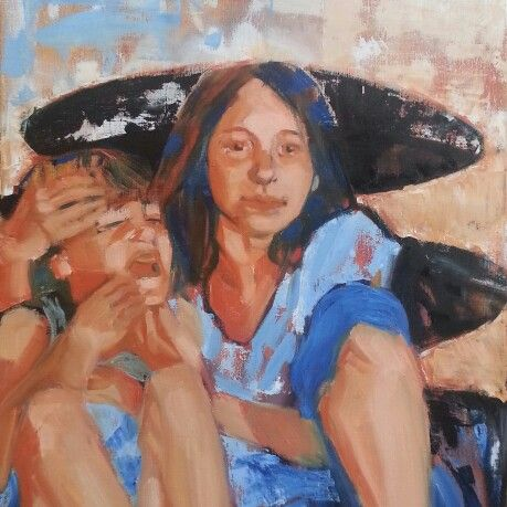 Sisterly Love.  Oilpainting by Maria Tomczak