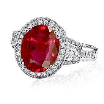 Oval ruby & diamonds